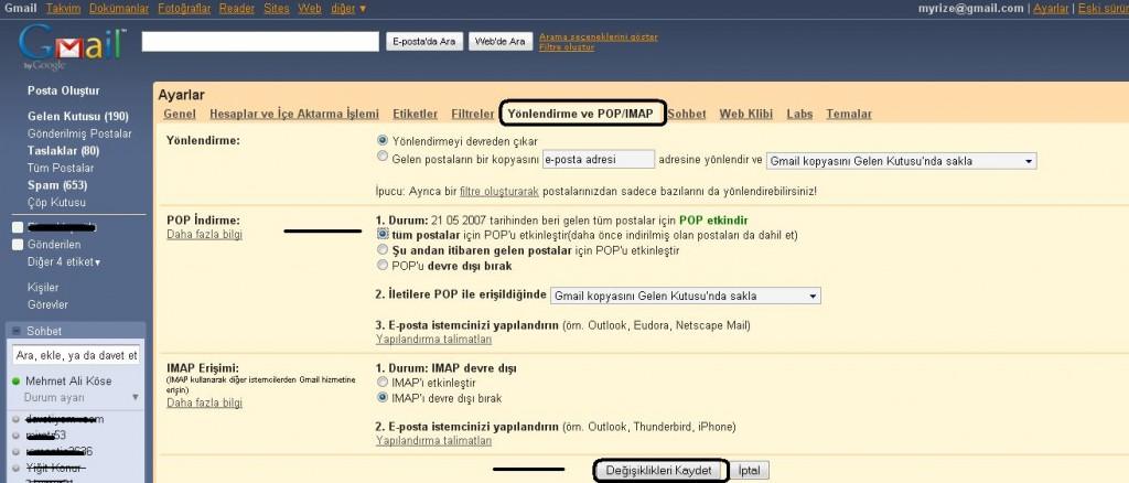 Gmail Yönlendirme ve POP/IMAP