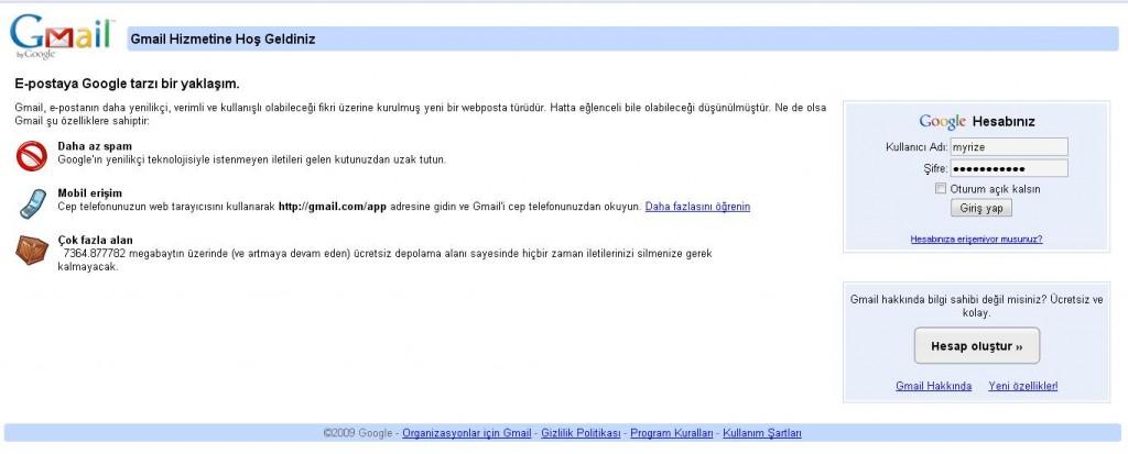 Gmail Giriş Sayfası
